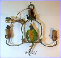 RARE Vintage CAST IRON PARROT Hanging Light Fixture Ceiling Lamp