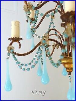 RARE Vintage Chandelier Blue Opaline drops Beads 10 Lights Gouttes MURANO 1930