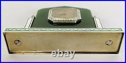 RARE Vintage Enamel STERLING SILVER & JADE Art Deco DESK CLOCK