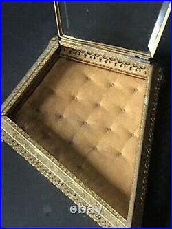 RARE! Vintage Gold Ormolu Jewelry Box Casket Antique DIAMOND ANIMAL FEET Glass