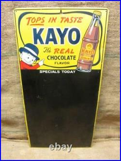 RARE Vintage Kayo Chocolate Beverage Menu Board Sign Antique Soda Drink 9926