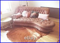 RARE Vintage MCM Mid Century Modern 1970s Curved Gold Pink Chesterfield Sofa