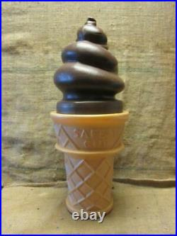 RARE Vintage Safe-T Ice Cream Cone Sign Bank 26 Tall Antique Old Dairy 9984