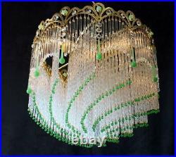 RARE! Vintage Spain, 16 x 16 Crystal, Bead & Brass Chandelier, Art Deco Style