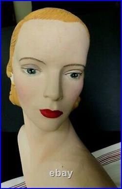 RARE Vintage WOMAN Female Mannequin HEAD Plaster BUST Antique Display Chalk Ware