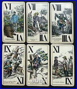 Rare 1800s Antique Jagd Hunter Tarock Tarot Playing Cards Piatnik Wien Vintage