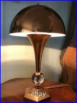 Rare Antique Vintage 1930s French Art Deco Mushroom Copper Table Desk Lamp