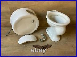 Rare Complete White Antique Pillbox Toilet Tank Bowl Lid Old Vtg Bath 664-20E