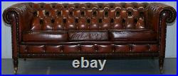 Rare Fully Restored Vintage Cigar Brown Leather Chesterfield Club 3 Seater Sofa