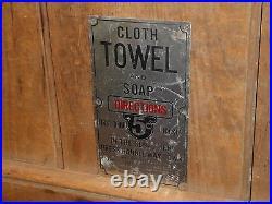 Rare Old Vintage Original Towel & Soap 5 Cents Pay Toilet Metal Sign Antique