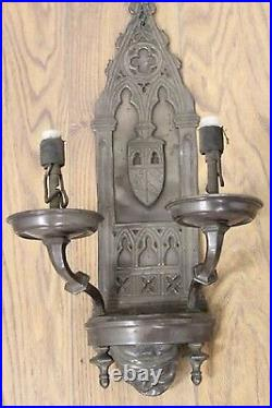 Rare Pair Antique Vintage Monk Head Face Gothic Mission Arts Crafts Wall Sconces