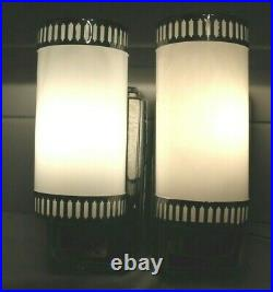 Rare Pair Classic Vintage Art Deco Wall Sconce With Cylinder Milk Glass Shades