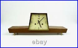 Rare Stunning MID Century Modernism Teak Table Clock Vintage 1960 By Zentra