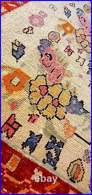 Rare Vintage 1940-1960's Natural Dye Wool Pile Oushak Runner Rug 2'9 x 9'7