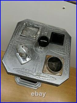 Rare! Vintage Antique Electric Black Glass Mico Lighter Smoking Stand