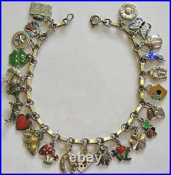 Rare Vintage Antique German Silver Enamel Lucky Charm Bracelet 23 Charms 7.75