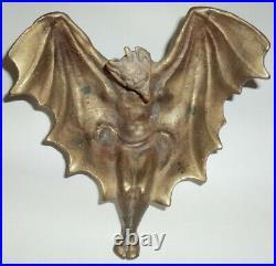 Rare Vintage Antique Nouveau Solid Brass Winged Devil Satan Tray Tip Ash