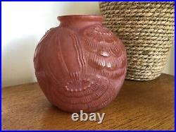 Rare Vintage Art Deco French Red Moulded Glass Flower Vase P Pierre DAvesn