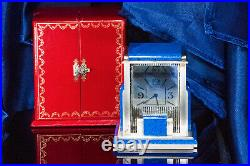Rare Vintage Cartier Mystery Prism Lapis Clock with Coin Edge Case & Original Box