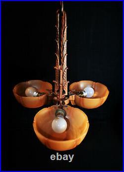 Rare Vintage French C-1920s Art Deco 3- arm Bronze chandelier light pendant