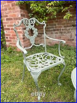 Rare Vintage Garden Patio Cast Iron Coffee Table & 2 Chairs Antique Furniture