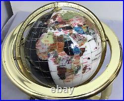 Rare/Vintage Genuine Gemstone Rotating Globe Compass On A Gold Brass Stand