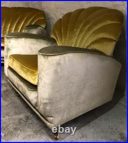 Rare Vintage Hollywood Regency Scallop Back Sofa & Pair Cloud Armchairs