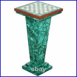 Rare Vintage Malachite Pedestal Chess Set After Alfredo Ravasco Storage Inside