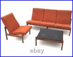 Rare Vintage Mid Century 1960s Modernist GUY ROGERS Corner Sofa, Chair & Table