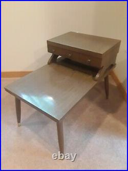 Rare Vintage Mid Century Modern 2 Tier Side End Step Table With Drawer