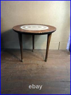 Rare Vintage Mid Century Modern Inlay Small Round Table MCM 3 Legs