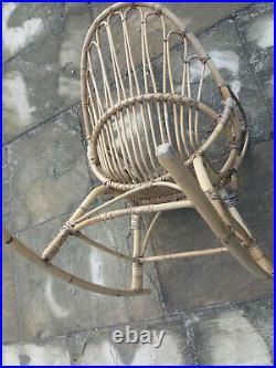 Rare Vintage Satellite Circle Cane Rocking Chair Bamboo Wicker Rattan