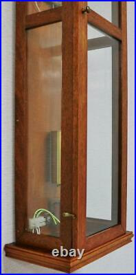 Rare Vintage Solid Oak & 6 Glass Panelled Slimline Cased Electric Wall Clock