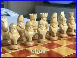 Rare Vintage USSR Soviet Russian Wooden Chess Set Folding Board Antique