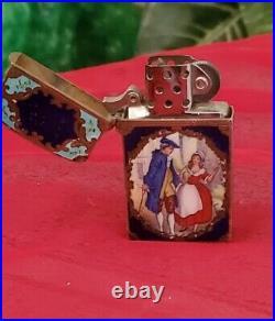 Rare Vintage Zippo Lighter Antique Silver & Enamel 1775 Cries Of London Scene