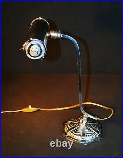Rare Vintage art deco 1920s Chrome bankers lamp original swivel trough shade