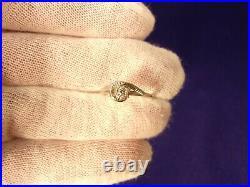 Rare Vtg Antique Art Deco 14k White Gold Diamond Solitaire Cluster Wedding Ring