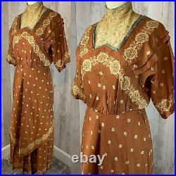 Rare c1900-1910s Edwardian Dress True Antique Gown Vintage Copper Brn Lace Small