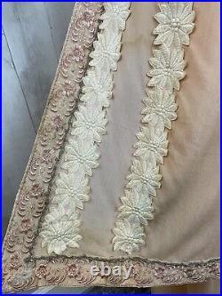 Rare c1910s Edwardian True Antique Gown Vintage Dress Appliqué Lace S/XS