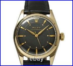 Rolex Ref 6334 Semi Bubble Back Watch Black 1950's Vintage Antique Rare