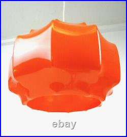 Stunning Rare 70s MID Century Vtg Orange Cocoon Ceiling Lamp By Ilka Plast 1950