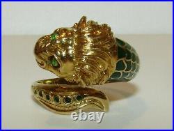 Unusual, Rare, Vintage Or Antique Designer 18 Ct Gold Green Enamel Lion Ring