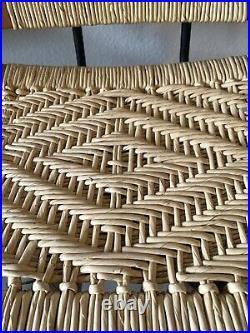VTG Mid-Century Modern Retro Danish Wicker Wood Swivel Bar Stools Set 2 Rare