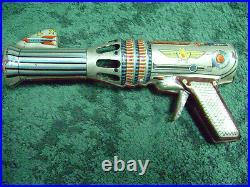 VTG Space Astra Rocket Ship Robot Ray Atomic Gun Tin Toy Rare Antique GREEK LYRA
