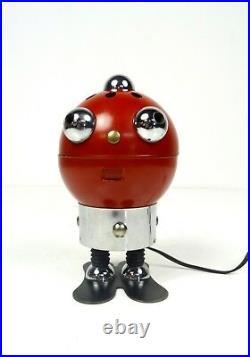 Very Rare 70s MID Century Robot Tin Table Lamp Space Age Vintage Futurism