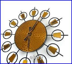 Very Rare German Vintage Brutalist Copper Sunburst Wall Clock MID Century