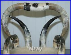 Very Rare Vintage Steer / Long Horn Armchair With Natural Leather Upholstery