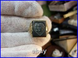 Very Rare Vtg Antique 10k Gold Art Deco Signet Ring, Man Lady Profiles In Heart