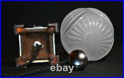 Vintage 1940 Rare antique art deco lamp barley twist opaline shade 4 footed base