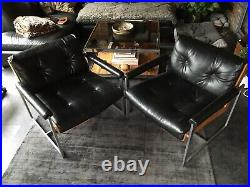Vintage 1970s Rare Eglin Lounge Chairs x 2 Steel, Bent Plywood and Black Vinyl